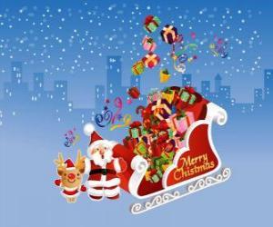Puzzle traîneau du Père Noël rempli de cadeaux de Noël