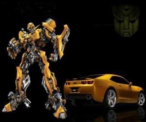 Puzzle Transformers, la voiture et le robot dans lequel il se transforme