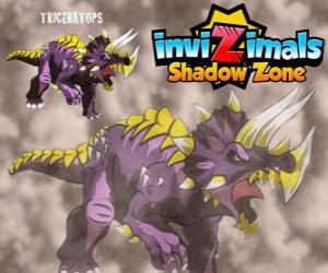 Puzzle Triceratops. Invizimals Shadow Zone. Herbivore Invizimals avec une grande force et la bravoure