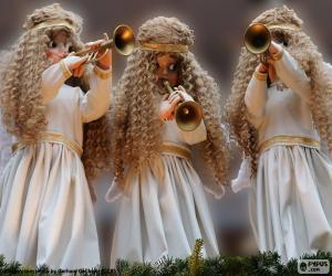 Puzzle Trois anges jouant de la trompette