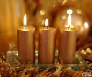 Puzzle Trois bougies de Noël or