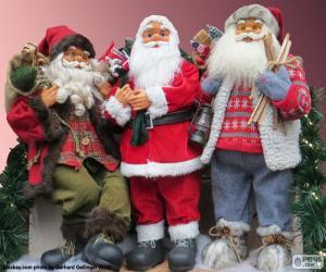 Puzzle Trois Santa Claus de noël poupées