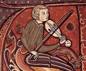 Puzzle Troubadour ou ménestrel, chanteur-compositeur-interprète poète ou l'artiste de divertissement du Moyen-Age en Europe