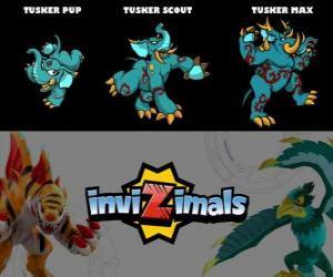 Puzzle Tusker en trois phases Tusker Pup, Tusker Scott et Tusker Max, Invizimals