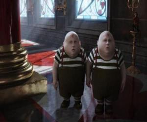 Puzzle Tweedledum et Tweedledee ou Blanc bonnet et bonnet blanc jumeaux joufflu qui se battent toujours entre eux