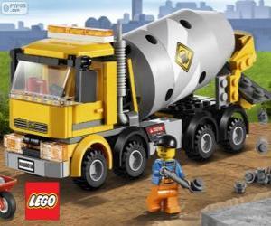 Puzzle Un camion bétonnière et un ouvrier du bâtiment, Lego City