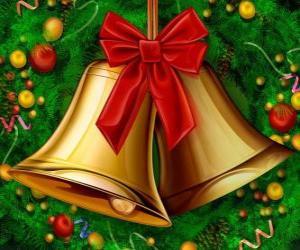 Puzzle Un couple de cloches de Noël avec un ruban
