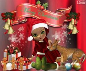 Puzzle Un elfe pour féliciter Noël