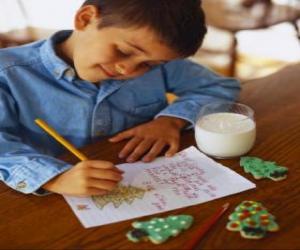 Puzzle Un enfant écrit une lettre au Père Noël