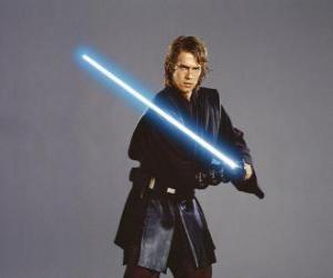 Puzzle Un jeune Anakin Skywalker avec son sabre laser