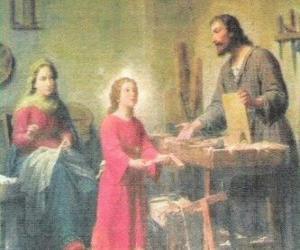 Puzzle Un jeune Jésus travaille comme menuisier avec son père Joseph