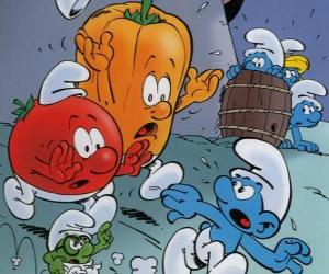 Puzzle Un Schtroumpf est poursuivi par une tomate et le poivron