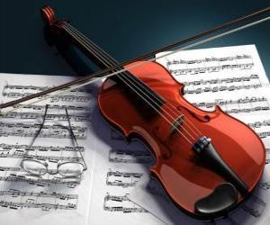 Puzzle Un violon et notes de musique