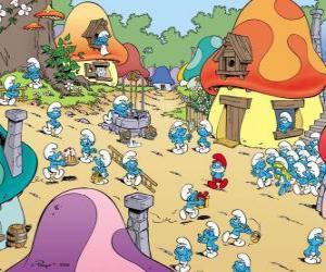 Puzzle Une journée dans le village des Schtroumpfs