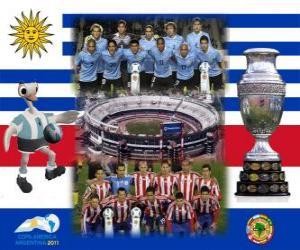 Puzzle Uruguay vs Paraguay. Finale Copa America Argentina 2011. 24 juillet, Stade Monumental, Buenos Aires