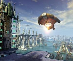 Puzzle Vaisseau spatial extraterrestre, soucoupe volante ou OVNI battant