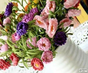 Puzzle Vase avec un grand bouquet de fleurs
