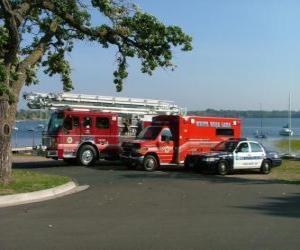 Puzzle Véhicules de secours incendie, ambulance et police