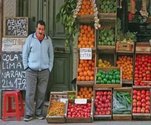 Puzzle Vendeur de fruits et de légumesdans
