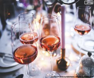 Puzzle Verres à vin rose