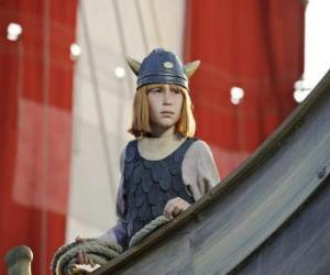 Puzzle Vic le Viking dans le drakkar ou navire viking