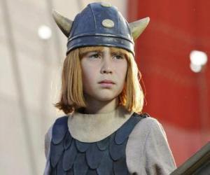 Puzzle Vic le Viking et son casque avec des cornes