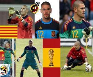 Puzzle Víctor Valdés (La panthère Hospitalet) gardien de but de la sélection espagnole