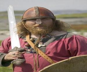 Puzzle Viking armé d'une épée et d'un bouclier