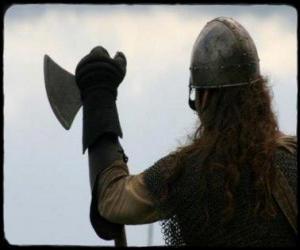 Puzzle Viking regarder armé d'une hache