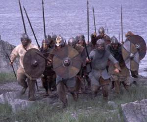 Puzzle Vikings en débarquant de son bateau complètement armé et avec le bouclier et la lance dans les mains