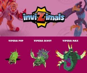 Puzzle Vipera en trois phases Vipera Pup, Vipera Scott et Vipera Max, Invizimals