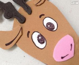 Puzzle Visage d'un renne de Noël du carton
