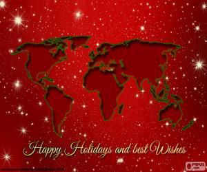 Puzzle Voeux de Noël, carte du monde