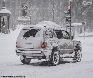 Puzzle Voiture avec de la neige