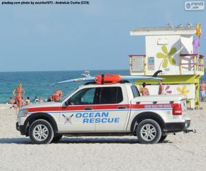Puzzle Voiture sauvetage de mer, Miami Beach