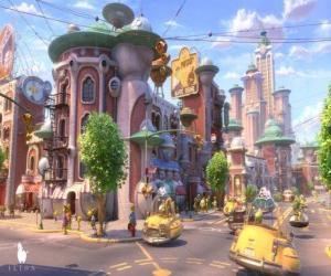 Puzzle Vue d'une rue de Glipforg sur Planet 51