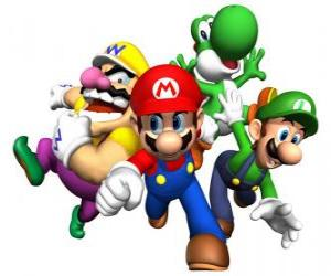 Puzzle Wario, Mario, Yoshi et Luigi