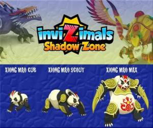Puzzle Xiong Mao Cub, Xiong Mao Scout, Xiong Mao Max. Invizimals Shadow Zone. Cette créature géante est le premier gardien de la tombe de l'Empereur Dragon