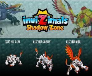 Puzzle Xue Hu Cub, Xue Hu Scout, Xue Hu Max. Invizimals Shadow Zone. Le tigre blanc du ciel est le quatrième garde de la Tombe de l'Empereur Dragon et le plus puissant