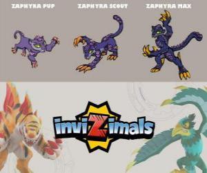 Puzzle Zaphyra en trois phases Zaphyra Pup, Zaphyra Scott et Zaphyra Max, Invizimals