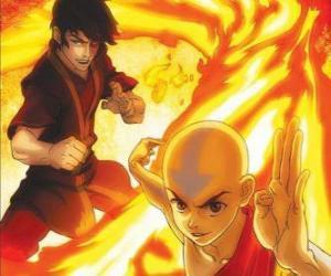 Puzzle Zuko et Aang lutte